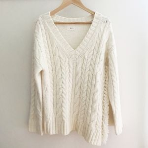 Lou & Grey Fringe Cableknit Sweater